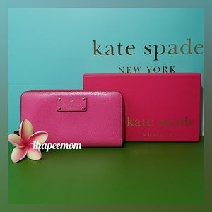 kate spade Zip Around Wallet With Box Hot Pink